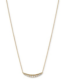 """Diamond Curved Bar Statement Necklace (3/8 ct. t.w.) in 14k Gold or 14k white Gold 16"""" + 2"""" extender"""