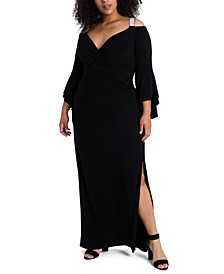 Plus Size Cold-Shoulder Gown