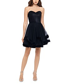 Juniors' Velvet-Hem Strapless Dress