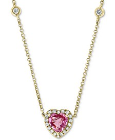"EFFY® Pink Sapphire (1 ct. t.w.) & Diamond (1/5 ct. t.w.) Heart 18"" Pendant Necklace in 14k Gold"