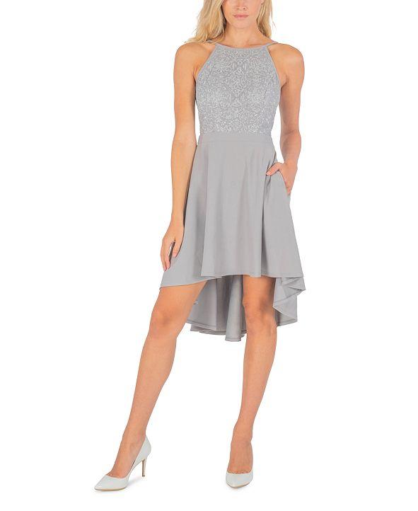 Speechless Juniors' Glitter-Top High-Low Dress