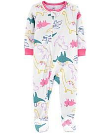 Baby Girl 1-Piece Dinosaur Fleece Footie PJs