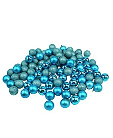96 Count Turquoise Shatterproof 4-Finish Christmas Ball Ornaments