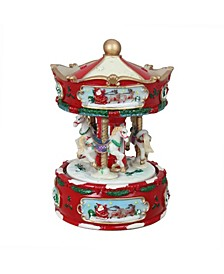 Animated Musical Carousel with Horses Christmas Music Box Table top Decor