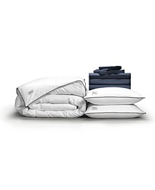 Classic Cool Crisp Perfect 10-Piece Bedding Bundle with White Goose Down, Queen
