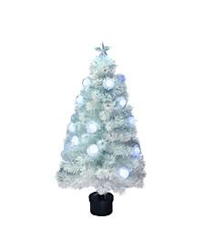 Pre-Lit Medium Iridescent Fibre Optic Artificial Christmas Tree-LED Lights