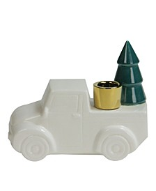 6 Ceramic Truck with Christmas Tree Taper Candlestick Holder