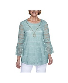 Women's Plus Size Floral Lace Biadere Top