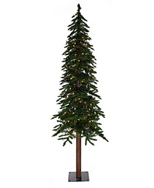 6' Prelit Natural Alpine Christmas Tree with 300 LED Lights