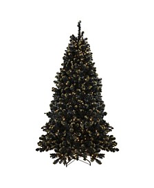Pre-Lit Crystal Pine with Gold Tone Glitter Artificial Christmas Tree