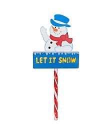 Pre-Lit Snowman Let It Snow Christmas Lawn Stake