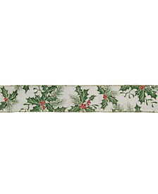Holly Leaves Christmas Wired Craft Ribbon Yards