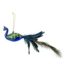 Jewelled Peacock Christmas Ornament with Feather Tail