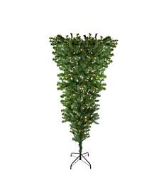 Pre-Lit Upside Down Spruce Artificial Christmas Tree-Warm LED Lights