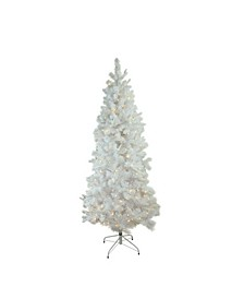 Pre-Lit Slim Flocked Pine Artificial Christmas Tree-Warm LED Lights
