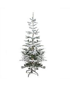 Unlit Slim Flocked Noble Fir Artificial Christmas Tree