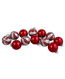 12 Count 2-Finish Swirl Glass Christmas Ball Ornaments