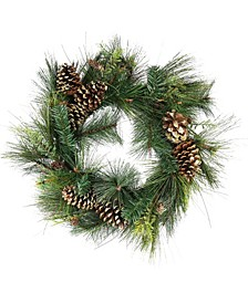 Unlit Artificial Mixed Pine with Pine Cones and Gold Tone Glitter Christmas Wreath