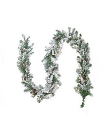 Pre-Lit Flocked Victoria Pine Artificial Christmas Garland-Clear Lights
