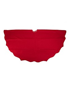 Cardinal Scalloped Edge Christmas Tree Skirt