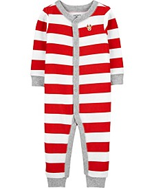Baby Boy or Girl Christmas Snap-Up Thermal Footless PJs