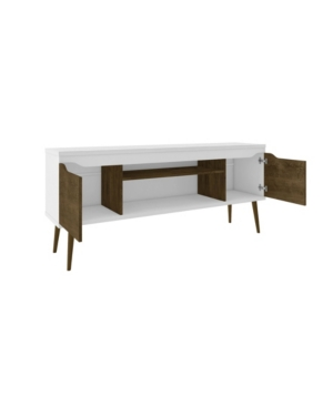"""Manhattan Comfort Bradley 62.99"""" Tv Stand In White And Rustic Brown"""