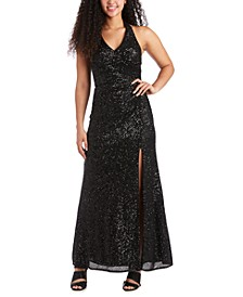 Juniors' Allover-Sequin Halter Gown