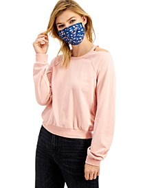 Juniors' Cutout Sweatshirt & Printed Face Mask