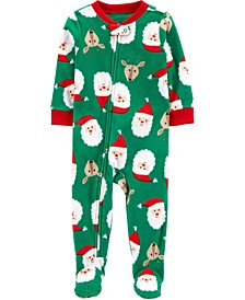 Toddler Boys Footed Fleece Santa Pajamas