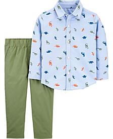 Toddler Boy 2-Piece Dinosaur Button-Front Shirt & Pant Set
