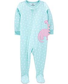 Toddler Girl 1-Piece Dinosaur Fleece Footie PJs