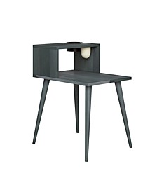 Rhodes Mid Century Modern Wood End Table with Shelf