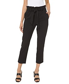 Paperbag-Waist Pull-On Pants