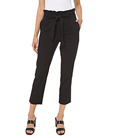 Michael Michael Kors Plus Size Paperbag-Waist Cropped Pull-On Pants