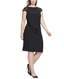 Plus Size Illusion-Sleeve Sheath Dress
