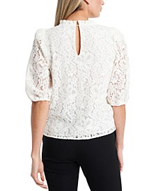 Puff-Sleeve Lace Top