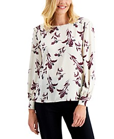 Printed Smocked-Shoulder Blouse, Created for Macy's