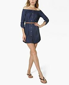 Juniors' Off-The-Shoulder Belted Shirtdress