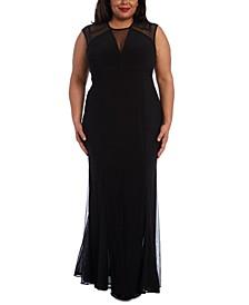 Plus Size Mesh-Detail Gown