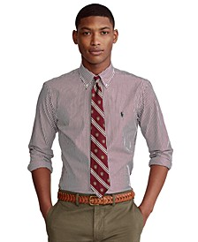 Men's Custom-Fit Striped Poplin Shirt