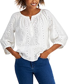 Embroidered Cotton Poplin Top, Created for Macy's