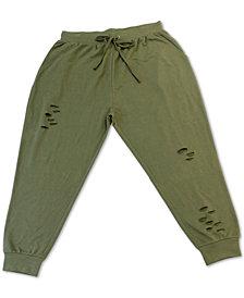 FULL CIRCLE TRENDS Trendy Plus Size Distressed Sweatpants