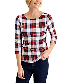 Plaid 3/4-Sleeve Top, Created for Macy's