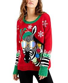 Juniors' Zebra Holiday Sweater