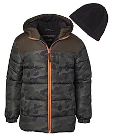 Little Boys Camouflage Puffer with Fleece Hat