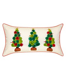"""Indoor Outdoor Holiday Potted Christmas Trees Decorative Pillow, 25"""" x 13"""""""