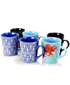 Floral Garden 6 Piece 23 Ounce Ceramic Cup Set