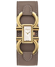 Women's Swiss Double Gancini Taupe Calf Leather Cuff Strap Watch 13x23mm