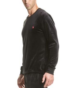 Polo Ralph Lauren Long Sleeve Velour Sleep Shirt In Polo Black