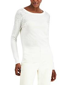 INC Rhinestone-Shoulder Sweater, Created for Macy's